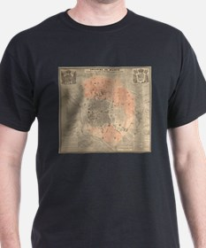 Vintage Map of Madrid Spain (1861) T-Shirt