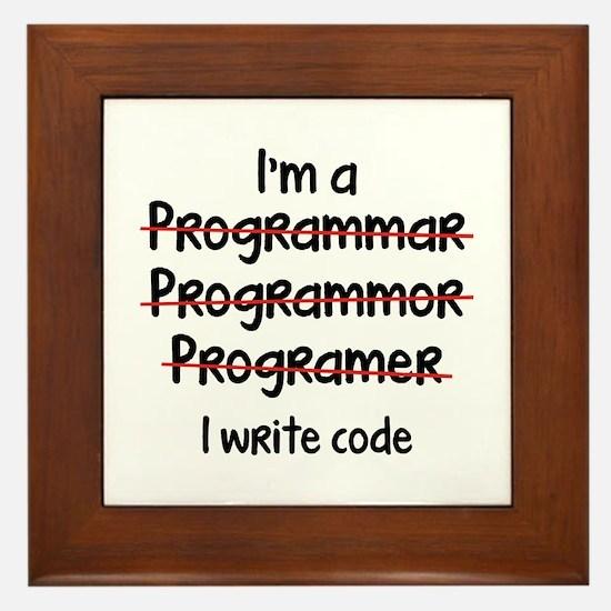 I Write Code Framed Tile
