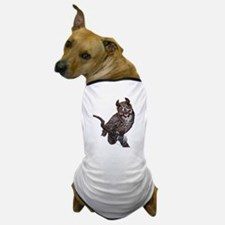 Great Horned Owl with Headphones Dog T-Shirt