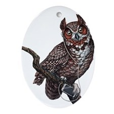 Great Horned Owl with Headphones Ornament (Oval)