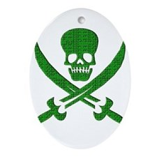 Hacker Bandit Skull Program Crashe Ornament (Oval)