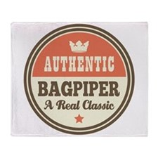 Bagpiper Funny Vintage Throw Blanket