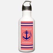 Navy and Coral Nautica Water Bottle