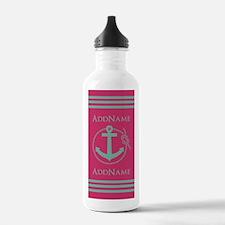 Pink Teal Nautical Anc Water Bottle