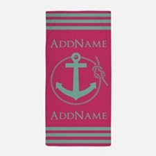 Pink Teal Nautical Anchor Monogram Beach Towel