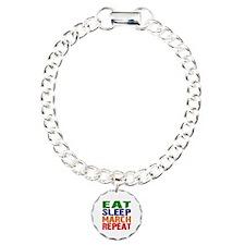 Eat Sleep March Repeat Charm Bracelet, One Charm