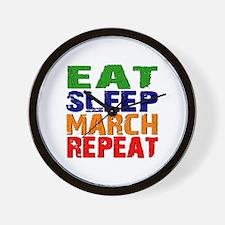 Eat Sleep March Repeat Wall Clock