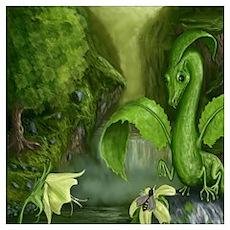Flower Leaf Dragon Poster