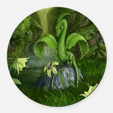 Flower Leaf Dragon Round Car Magnet