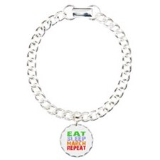 Eat Sleep March Repeat D Charm Bracelet, One Charm