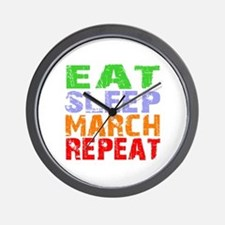 Eat Sleep March Repeat Dark Wall Clock