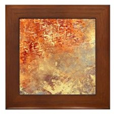 Abstract in Red, Yellow, and Smoke Framed Tile