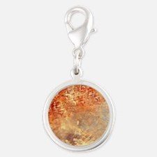Abstract in Red, Yellow, and S Silver Round Charm