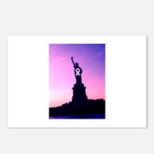 Chic Pink Ribbon Statue o Postcards (Package of 8)