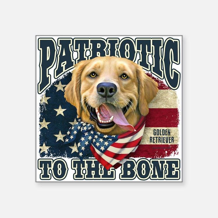 """Patriotic Golden Square Sticker 3"""" x 3"""""""
