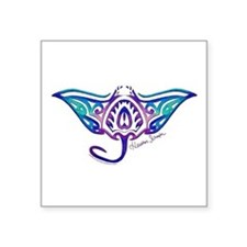 "Cute Manta ray Square Sticker 3"" x 3"""