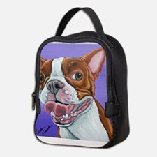 Red Boston Terrier Neoprene Lunch Bag