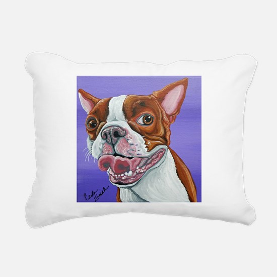 Red Boston Terrier Rectangular Canvas Pillow