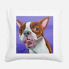 Red Boston Terrier Square Canvas Pillow