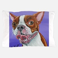 Red Boston Terrier Pillow Case