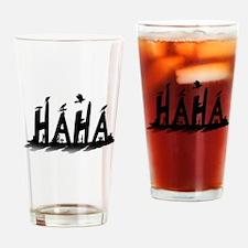 HAHA - B/W Drinking Glass