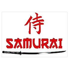 Samurai Kanji and text Poster