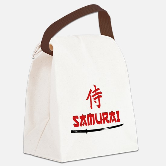 Samurai Kanji and text Canvas Lunch Bag