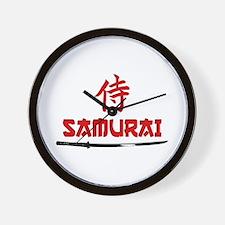 Samurai Kanji and text Wall Clock