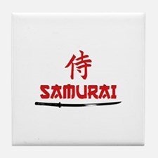 Samurai Kanji and text Tile Coaster