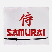 Samurai Kanji and text Throw Blanket