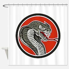 Cobra Viper Snake Circle Retro Shower Curtain