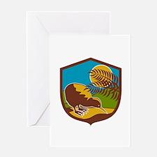 Kiwi Bird Moon Fern Mountain Shield Retro Greeting
