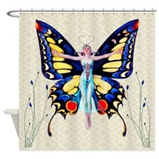 Art Deco Sensual B'fly Flapper Shower Curtain