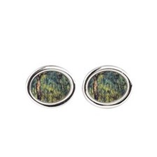 Weeping Willow by Claude Monet Oval Cufflinks