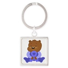 Periwinkle Ribbon Awareness Bear Keychains