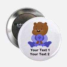 """Personalized Periwinkle Awareness Bear 2.25"""" Butto"""