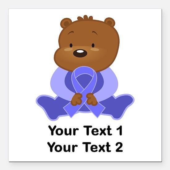 Personalized Periwinkle Awareness Bear Square Car