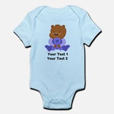 Personalized Periwinkle Awareness Bear Body Suit