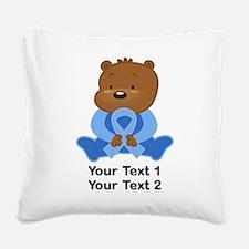 Light Blue Awareness Bear Square Canvas Pillow