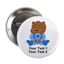 "Light Blue Awareness Bear 2.25"" Button"