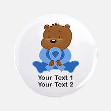 Light Blue Awareness Bear Button