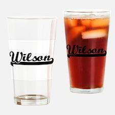 Wilson surname classic retro design Drinking Glass