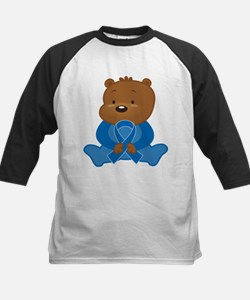 Blue Awareness Bear Kids Baseball Jersey