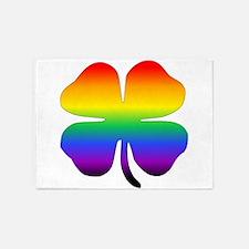 Rainbow Four Leaf Clover 5'x7'Area Rug
