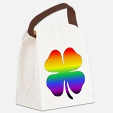 Rainbow Four Leaf Clover Canvas Lunch Bag