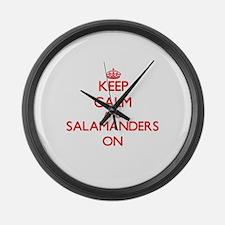 Keep calm and Salamanders On Large Wall Clock