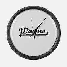 Wayne surname classic retro desig Large Wall Clock