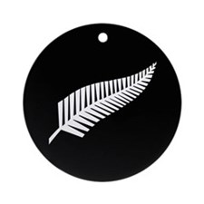 Silver Fern Flag Ornament (Round)