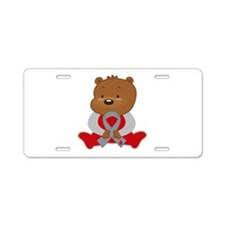 Gray Awareness Bear Aluminum License Plate