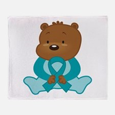 Teal Awareness Bear Throw Blanket